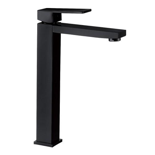 Grifo de lavabo caño alto monomando  negro mate serie PLANA