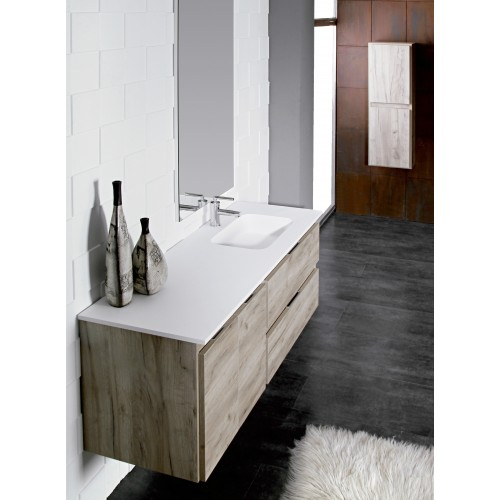 Lavabo Solid Surface Integrado con Seno Desplazado